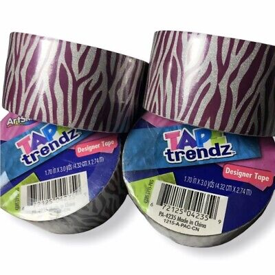 $13.79 • Buy ArtSkills Tape Trendz Duct Tape Purple Zebra Print & Glitter Designer Lot Of 4