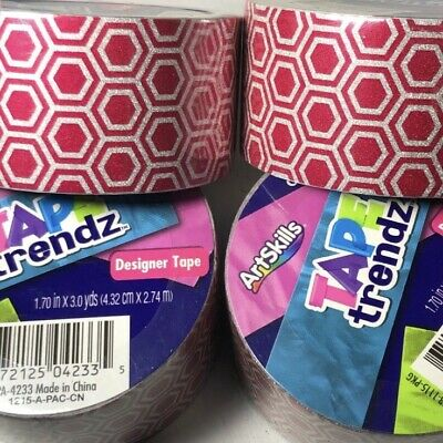$12.99 • Buy ArtSkills Tape Trendz Duct Tape Pink Silver Honeycomb Glitter Designer Lot Of 4