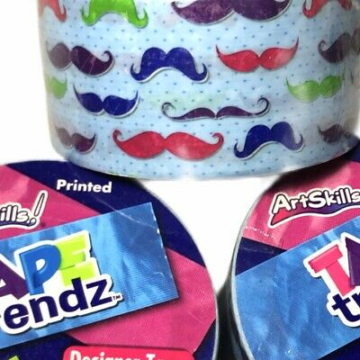 $12.99 • Buy ArtSkills Tape Trendz Duct Tape Colorful Mustaches On Blue Designer Lot Of 3
