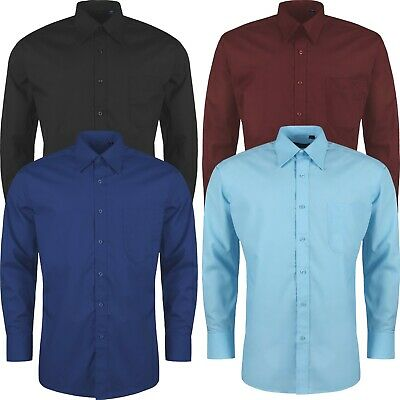 £8.99 • Buy Mens Formal Shirts Long Sleeve Button Up Smart Plain Business Collared Dress Top