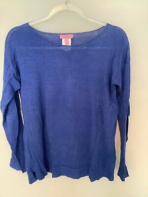 $29.99 • Buy NWOT Lilly Pulitzer Alana Linen Boatneck Sweater S Small Iris Blue Luxletic $98