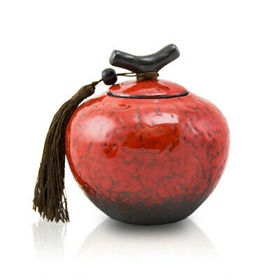 $29.95 • Buy Branch Ceramic Pet Cremation Urn For Ashes - Small Crimson Red