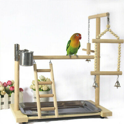 Parrot Tree Bird Stand Wood Parrot Stand Bird Training Tree Play Gym Center Toy • 53.79£