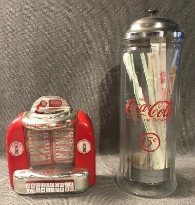 $24 • Buy Vintage  COCA COLA Collectibles ~Glass Straw Dispenser ~ Jukebox ~ Doesn't Work