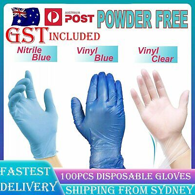 AU22.99 • Buy 100X Clear Vinyl Blue Nitrile Glove Disposable Powder Free Latex Or Finger Cots
