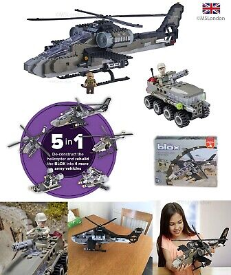 £9.99 • Buy Army Military Blox Toys Field Gun Tank 5 In 1 Helicopter Kids ( LEGO Size ) UK