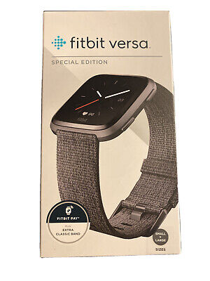 $ CDN254.69 • Buy Fitbit Versa Special Edition Charcoal Woven Band Fitness Activity Tracker