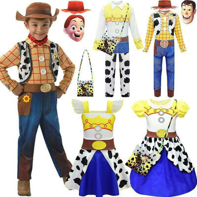 Toy Story 4 Jessie Woody Fancy Dress Costume Cowboy Cosplay Outfits Kids 2-13Y • 12.63£