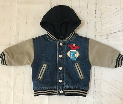 $10.99 • Buy SESAME STREET Elmo Toddler Boys Jean Jacket Size 12 Months Hooded Quilted