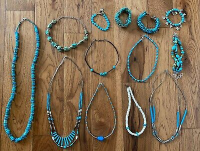 $ CDN237.86 • Buy Lot Of Sterling Silver Necklaces And Bracelets Turquoise Stone