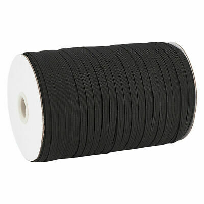 $ CDN28.01 • Buy 200yds/Roll 5mm Flat Elastic Cords Knit Braided Sewing Bands Ropes Black Threads
