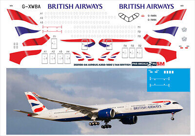 1/144 PAS-DECALS  ZVEZDA  Revell  Airbus A350-1000 BRITISH AIRWAYS • 10.73£