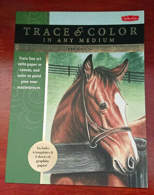 £5.99 • Buy Trace And Color In Any Medium HORSES Art Book Horse Drawing Book Paint Colour