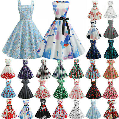 Ladies Vintage Rockabilly Swing Dress Pinup Evening Party Formal Dress Plus Size • 11.96£