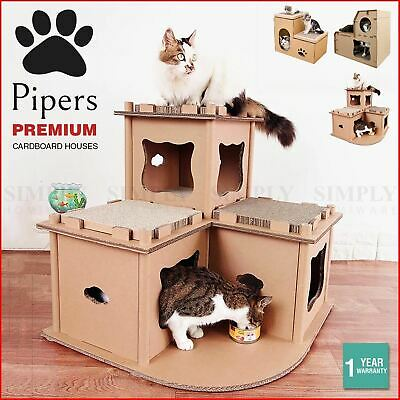 AU84.90 • Buy Pipers Cat Cardboard House Tree Tower Condo Scratcher Pet Post Pad Mat Furniture