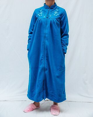 Ladies Givoni (90) Zip Polar Fleece Dressing Gown Mid Length Robe Blue • 38.78£