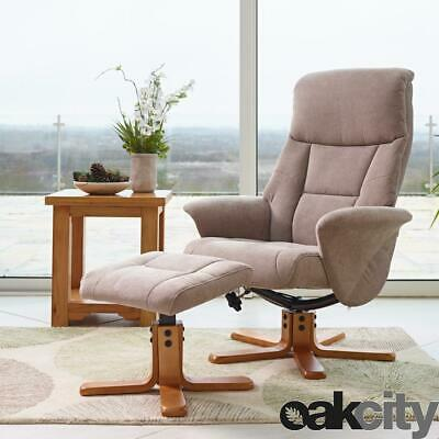 £239 • Buy Marseille - Fabric/Faux Leather Swivel Recliner Chair And Foot Stool - Mist