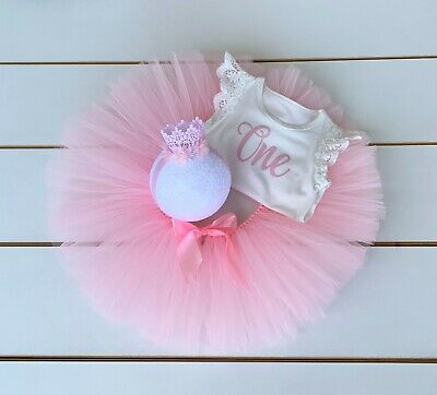 AU45 • Buy Light Pink 3 Piece First Birthday Outfit - Cake Smash Outfit - Baby Girl