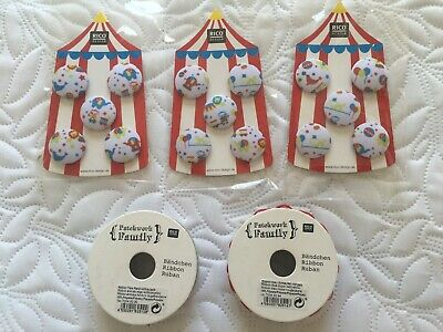 £9.99 • Buy RICO Patchwork Family Bundle Containing Circus Clowns, 2m Ribbons, Kids Buttons