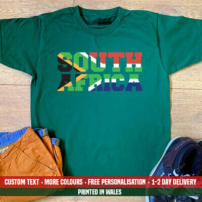 £10.99 • Buy South Africa Flag T-shirt Slogan African Rugby Birthday Fathers Day Dad Gift Top