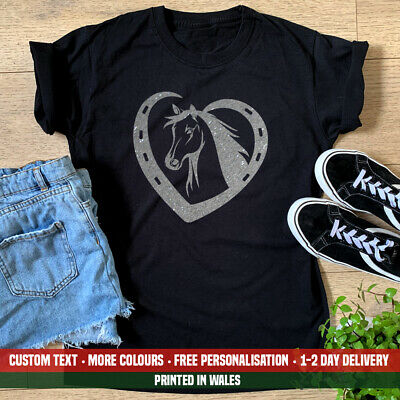 £10.99 • Buy Ladies Horse Heart T-shirt - Cute Equestrian Riding Pony Funny Birthday Gift Top