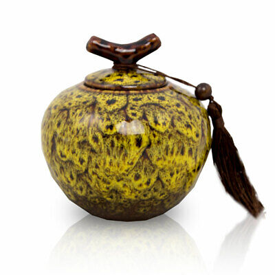 $39.49 • Buy Branch Ceramic Cremation Urn For Ashes - Medium Autumn Yellow