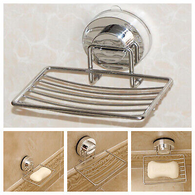 Metal Strong Suction Bathroom Shower Chrome Accessory Soap Dish Holder Tray UK • 5.89£