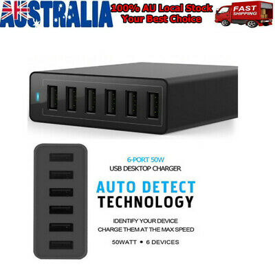 AU28.99 • Buy Multi 6-Port USB Charger 10A 50W Rapid Charging Station Desktop Travel Hubs AU