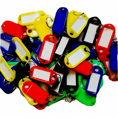 £3.49 • Buy 50 X Key Tags FOB Tag Ring Plastic Name Label Holder Office Lock Luggage AC1081