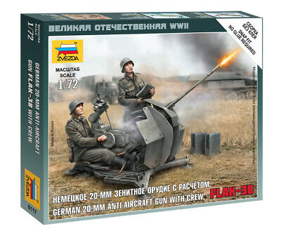Zvezda 1/72 Figures - German 20mm FLAK-38 Anti Aircraft Gun With Crew Z6117 • 4.95£