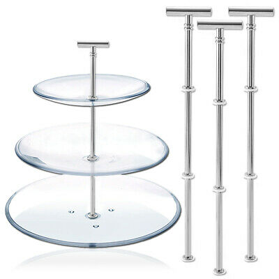 £8.19 • Buy Cake Plate Stand T-shape Silver 2 Or 3 Tier Handle Fitting Center Rod Party UK