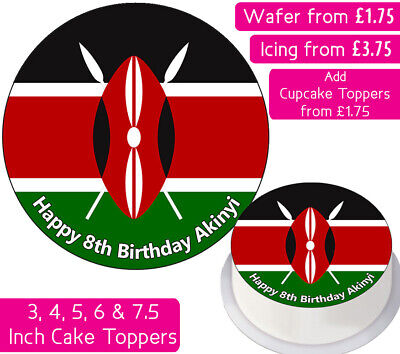 Kenya Flag Edible Wafer & Icing Personalised Cake Toppers Birthday Party World • 3.50£
