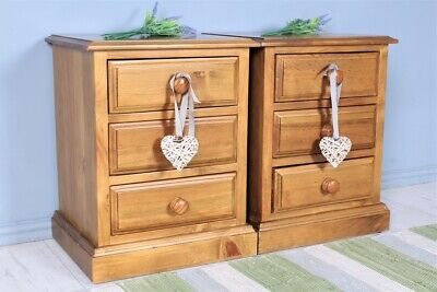 DELIVERY OPTIONS - 2 X  SOLID PINE BEDSIDE TABLES 3 DRAWER SECOND HAND • 500£