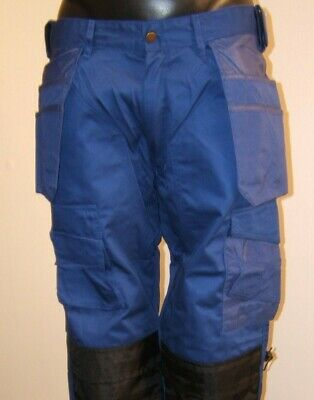 BLUE Heavy Duty Work Pants Inc Pockets With Free Knee Pads Lots Of Sizes • 10£