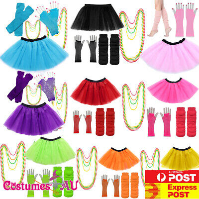 AU16.62 • Buy Ladies 1980s Tutu Skirt Fishnet Gloves Leg Warmers Necklace 80s Neon Costume