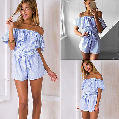 Women Bandeau Lace Up Playsuit Off Shoulder Striped Jumpsuit Romper Beach Shorts • 9.97£