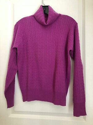 $25 • Buy Pink 100% Cashmere Cable Turtleneck Sweater,