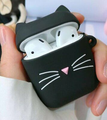$ CDN9.91 • Buy For Airpods / Airpods Pro - Black Cat W/ Ring Chain Soft Rubber Silicone Case