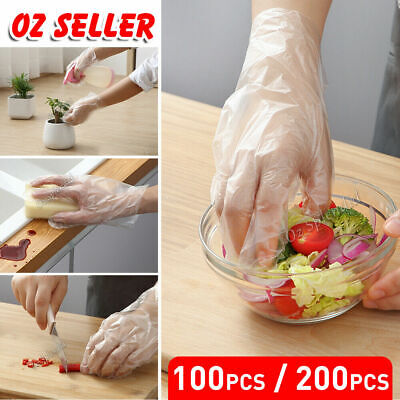 AU3.95 • Buy 100pcs Plastic Disposable Gloves Transparent Food Handling Hygienic Catering