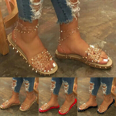 Womens Studded Ankle Strap Sandals Ladies Open Toe Summer Gladiator Flats Shoe • 11.01£