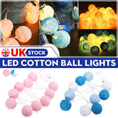 1/2/4PCS 10 LED Battery Powered Globe Cotton Ball String Fairy Lights Decorate  • 3.88£