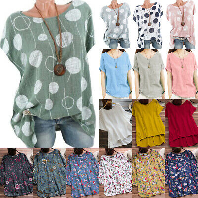 £12.19 • Buy Ladies Womens Plus Size Summer Baggy Loose T-Shirt Blouse Hippie Boho Tunic Tops