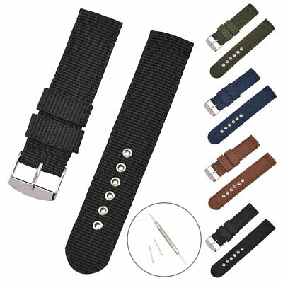 18 /20 /22mm Military Nylon Canvas Wrist Strap Metal Buckle Watch Band W/Tools • 2.55£