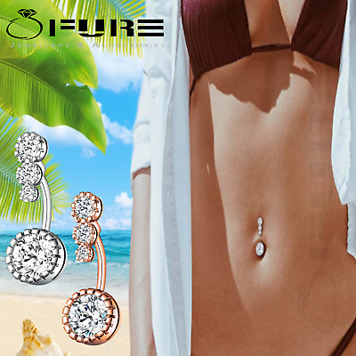 £3.99 • Buy 316L Surgical Steel Belly Bar Dangle Cubic Zirconia Crystal Curved Body Piercing