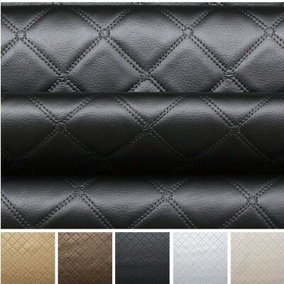 Faux Leather Diamond Fabric Heavy Duty Leatherette Upholstery Vinyl Material • 1.99£