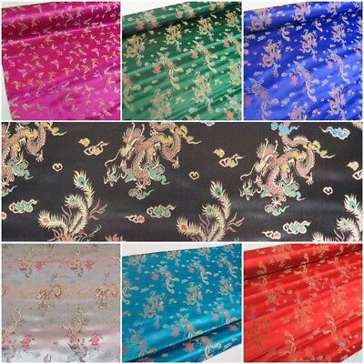 Traditional Brocade Chinese Dragon Dress Fabric Embroidered Silk Satin Oriental  • 5.99£