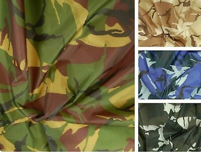 £4.99 • Buy Waterproof Camo Ripstop Army Camouflage Nylon Fabric Material 150cm Wide