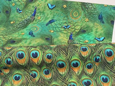 £9.99 • Buy DIGITAL Designer Green PEACOCK Birds Feathers Cotton Curtain Fabric Upholstery