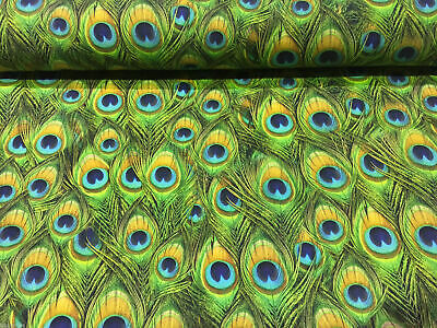 £15.99 • Buy PEACOCK FEATHERS Curtain Upholstery Cotton Fabric Material - 140cm Wide GREEN