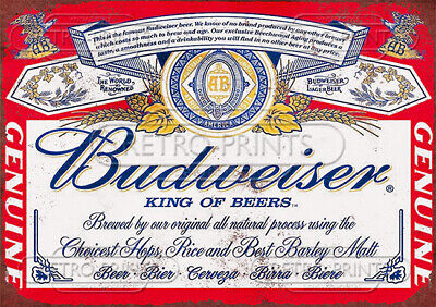 Budweiser Beer Metal Sign Advertisement - Retro Great For Home Bar Or Man Cave • 4.95£